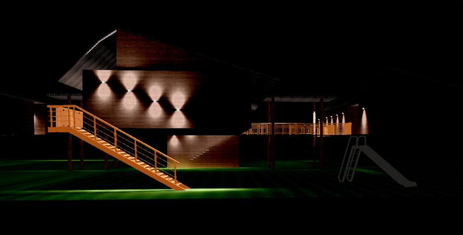 Eclairage coursive et façade