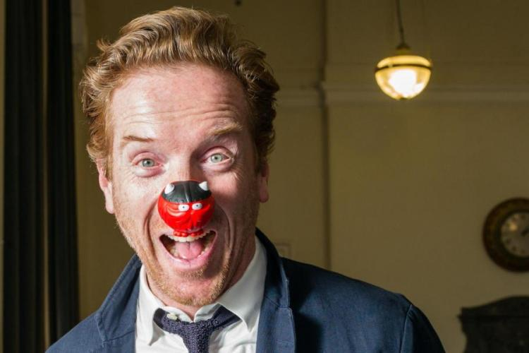 Nose joke: Billions star Damian Lewis supports our 'Evening Stand Up' campaign for Comic Relief and the Dispossessed Fund