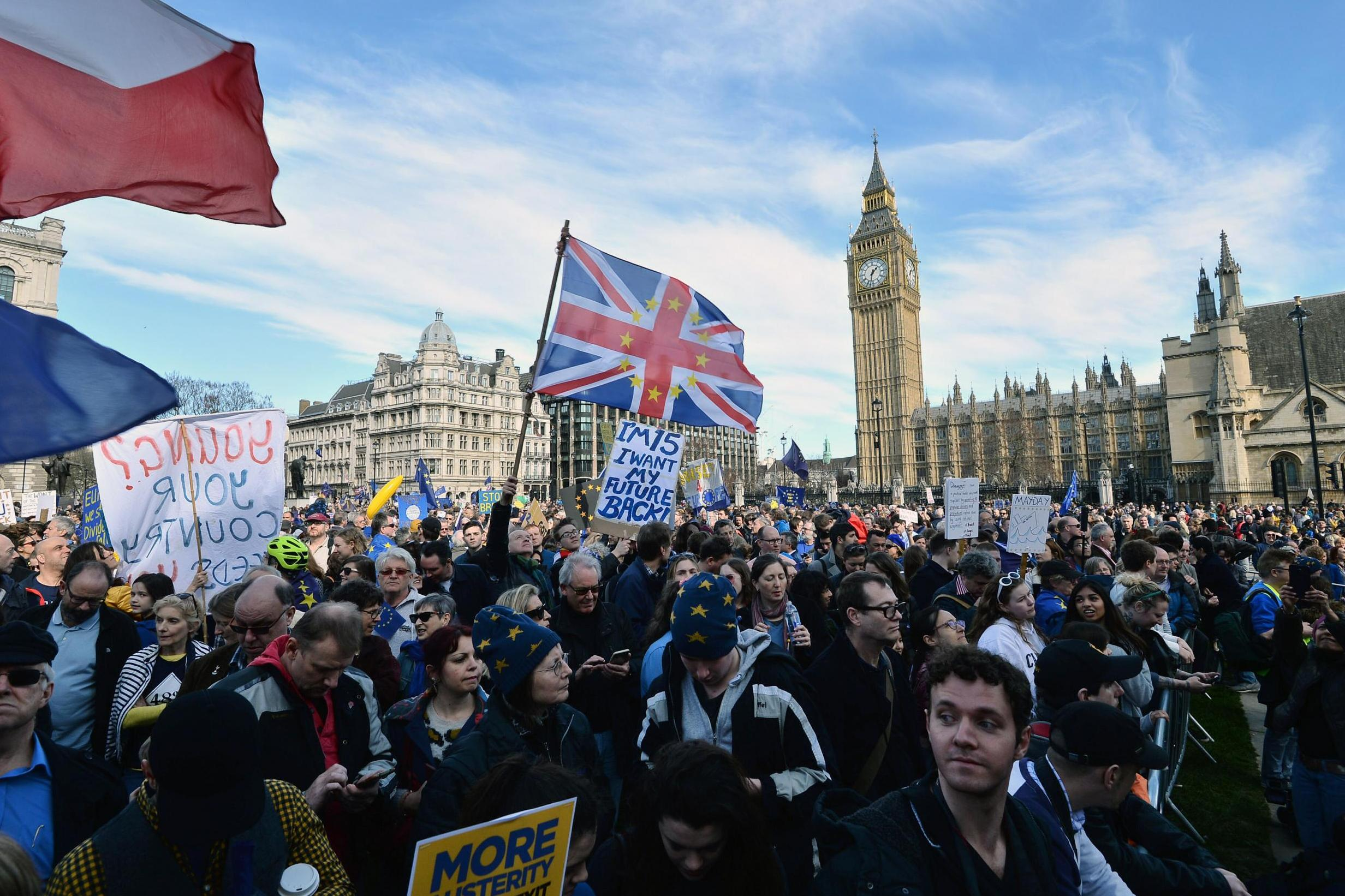 Unite For Europe March Anti Brexit Protesters Hold Silence In Tribute To Terror Victims