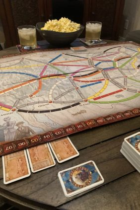 Board Games like Ticket To Ride are a great stay at home date night!