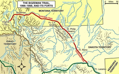 The Bozeman Trail and its Forts, 1866–1868. (Map by Cassie Theurer, adapted from Prucha, Atlas of American Indian Affairs, 1990, page 128)