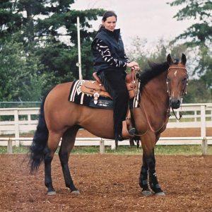 Trainer Carla Webb riding Dolly