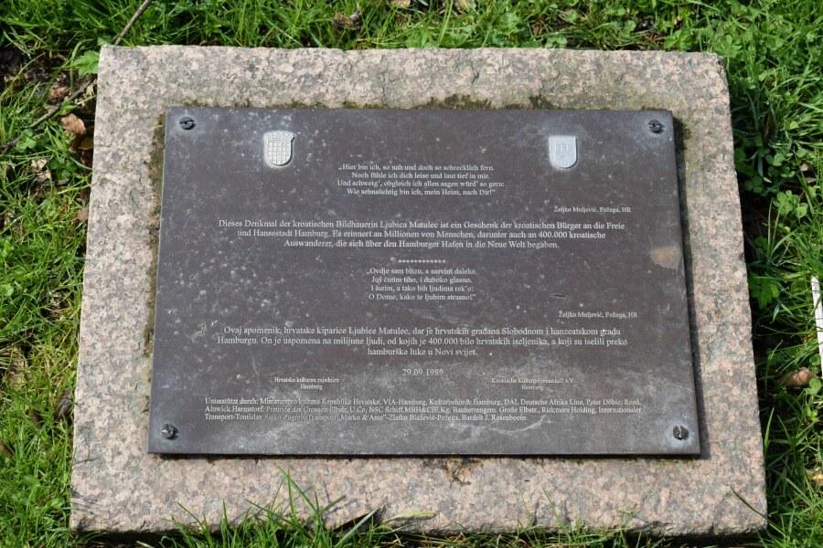 Emigratiemonument Hamburg: Auswandererdenkmal bij het Altonaer Balkon | Standort Hamburg