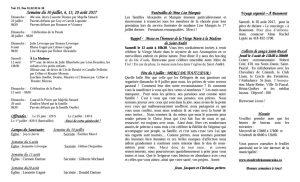 Feuillet paroissial du 30 juillet et 6, 13, 20 août