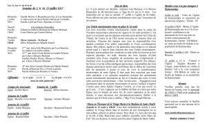 Feuillet paroissial du 2, 9, 16 et 23 juillet