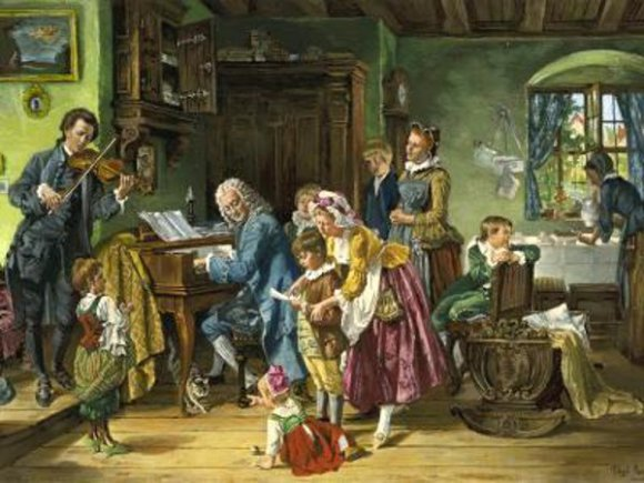 """Bach with His Family at Morning Devotion"" by Toby Edward Rosenthal (1870)"