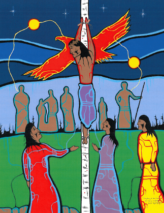 "Ovide Bighetty  ""Creating a New Family""  One of a series of paintings called ""Kisemanito Pakitinasuwin"" - The Creator's Sacrifice - commissioned by the Indian Metis Christian Fellowship of Regina, of the Christian Reformed Church."