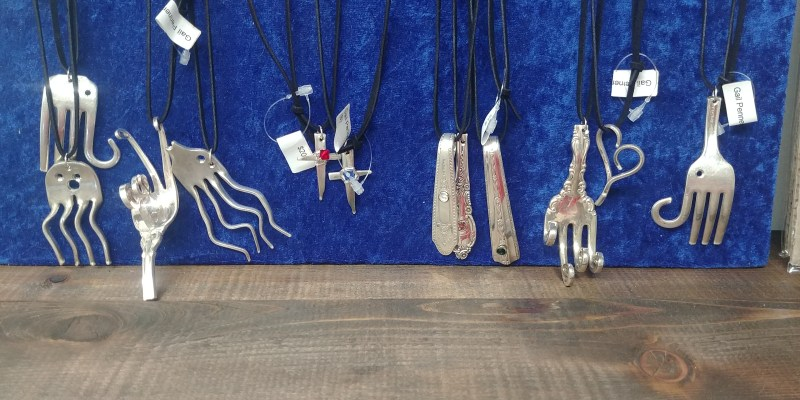 Imaginative jewelry make from silver spoons.