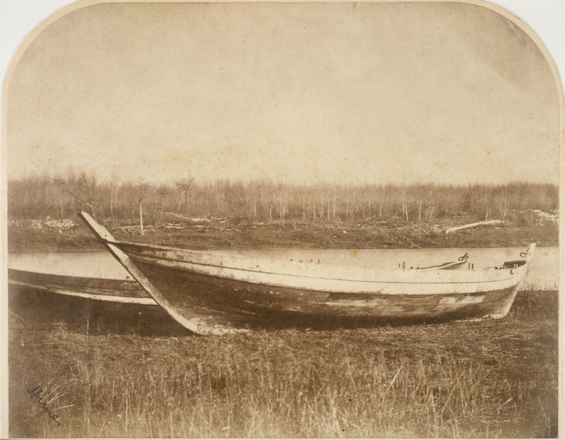 Freighter's Boat on banks of Red River, 1858