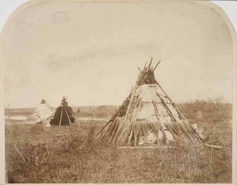 Ojibwe tents on the banks of Red River, near Middle Settlement, 1858