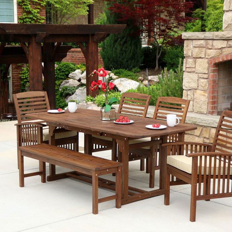 walker edison ow6sdb sundowner 6 piece dark brown patio dining set