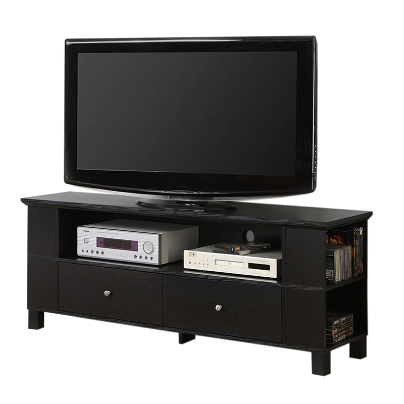 Walker Edison 65 Inch TV Stand With Multimedia Storage Black P60CMPBL