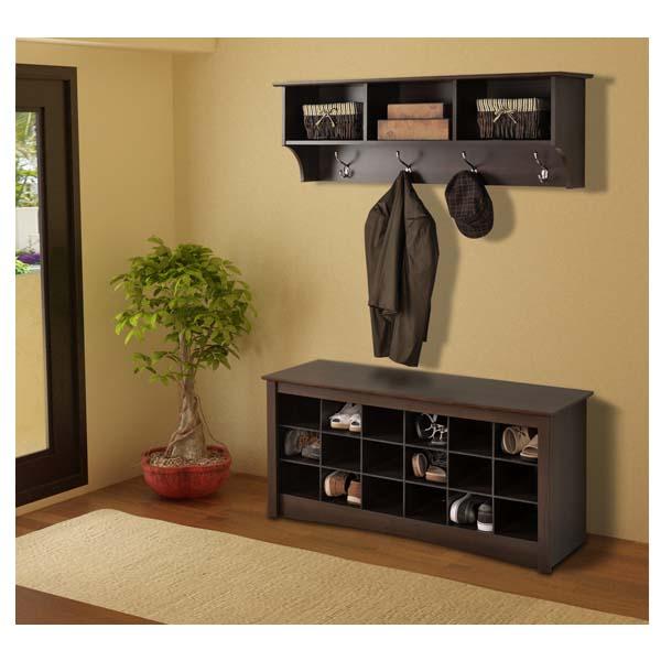 Prepac Entryway Shoe Storage Cubbie Bench Espresso Ess 4824