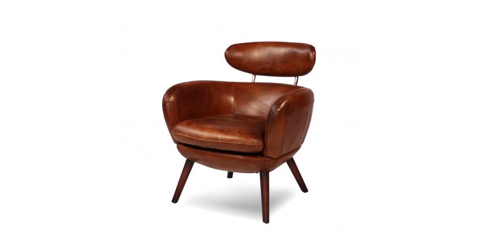 fauteuil cuir vintage marron janis