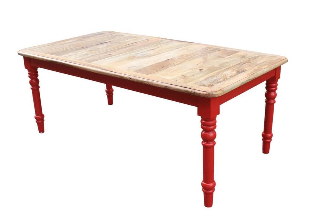 table de repas style rustique chic en bois de manguier et pieds rouges