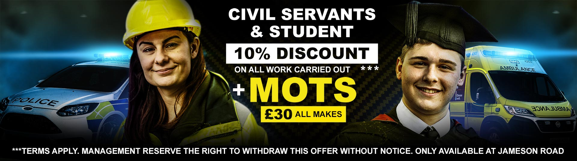 Bournemouth MOT Offer Civil Servants and Student 10% Discount by Stanfield Garage