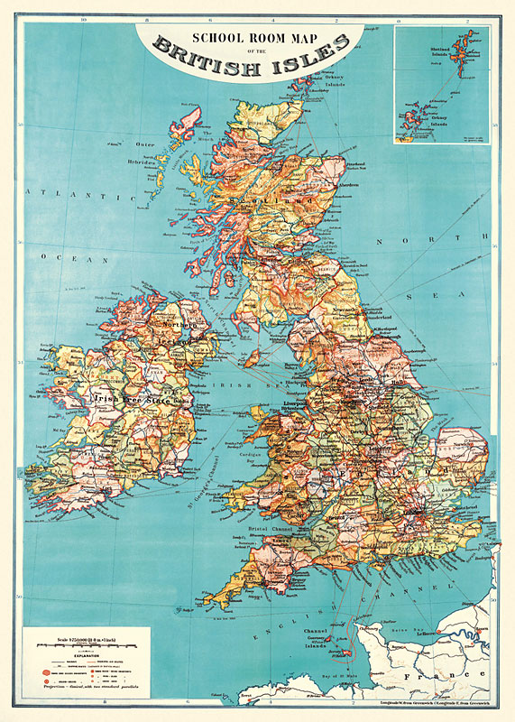 School Room Map Of The British Isles T Wrap