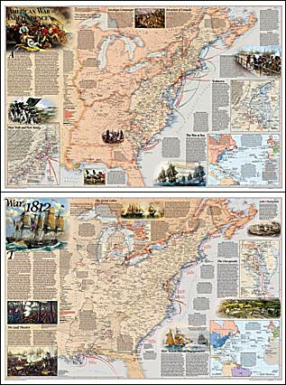 The American War of Independence 1775 1783 and the War of 1812 Wall         The American War of Independence 1775 1783 and the War of 1812 Wall Map  PAPER