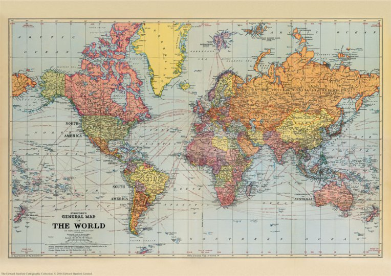 Stanford s General Map of the World  1920    A3 Wall Map  Paper     Stanford s General Map of the World  1920    A3 Wall Map  Paper