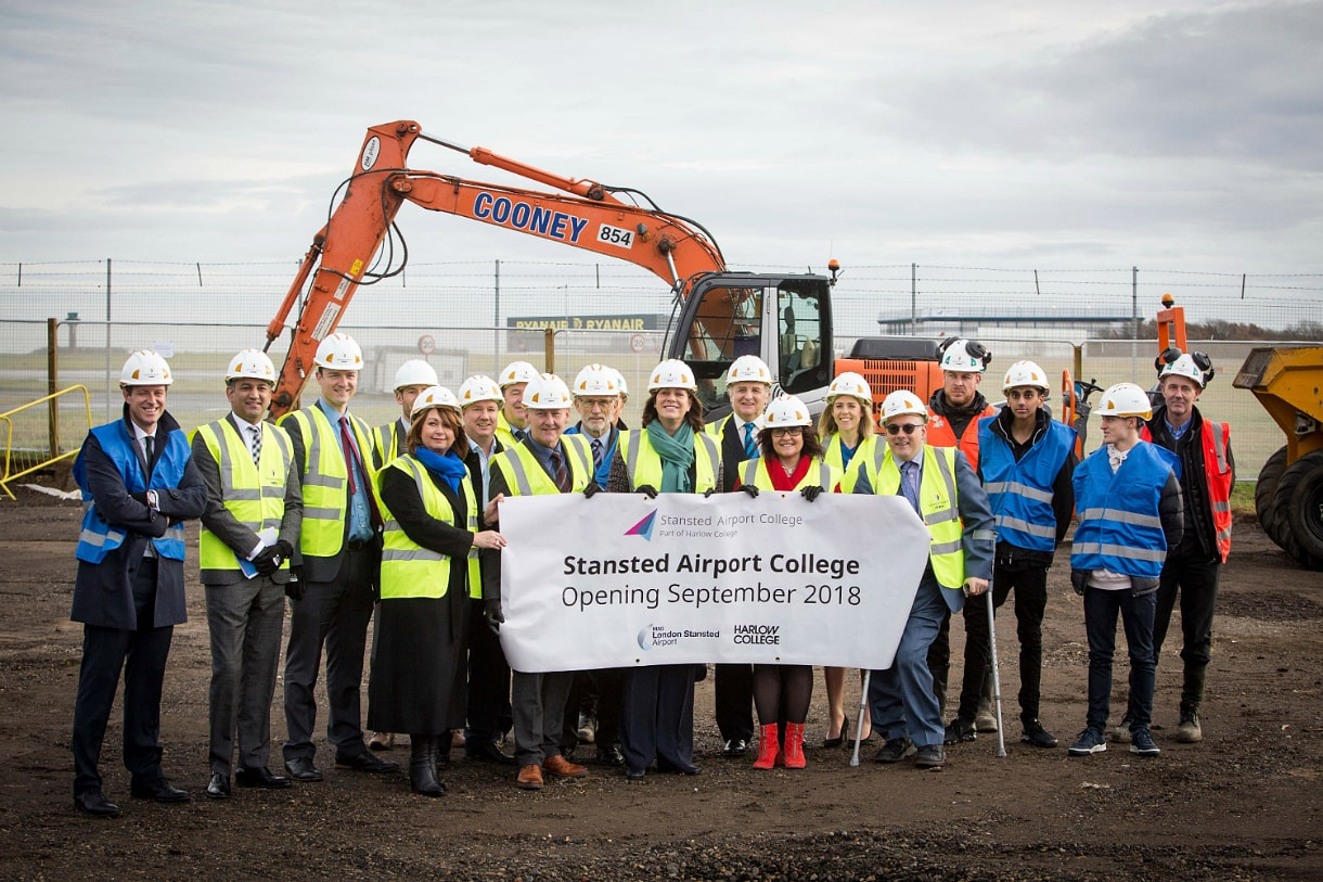 Stansted Airport's new technical college provides the backdrop for the launch of the Government's new Industrial Strategy