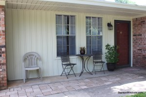 Board and Batten Vinyl Siding on a Porch Wall