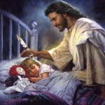American Jesus looks lovingly upon a a sleeping child while holding a rusty knife.