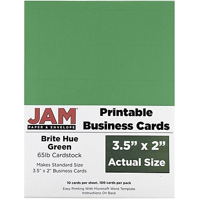 Business   Loyalty Cards   Printable Custom Cards   Staples     JAM Paper     Two Sided Printable Business Cards  2 x 3 5  Bright Hue Green