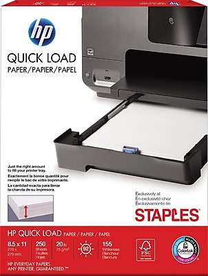 staples exclusive hp quick load paper 8 1 2 x 11 letter size white 250 sheets half ream