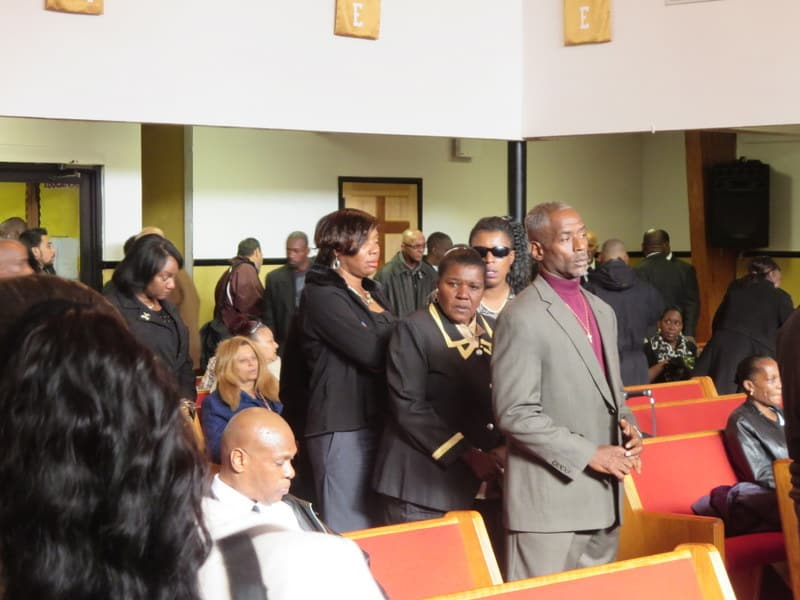 Mourner's at Tony Sterling's Funeral at Calvary Church.