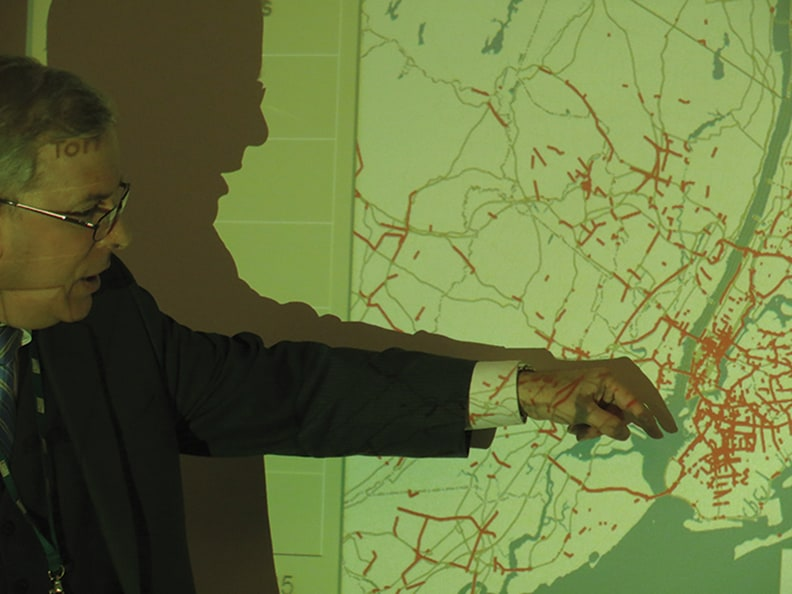 Mark Hoffer of the Port Authority, points out the existing rail connections.