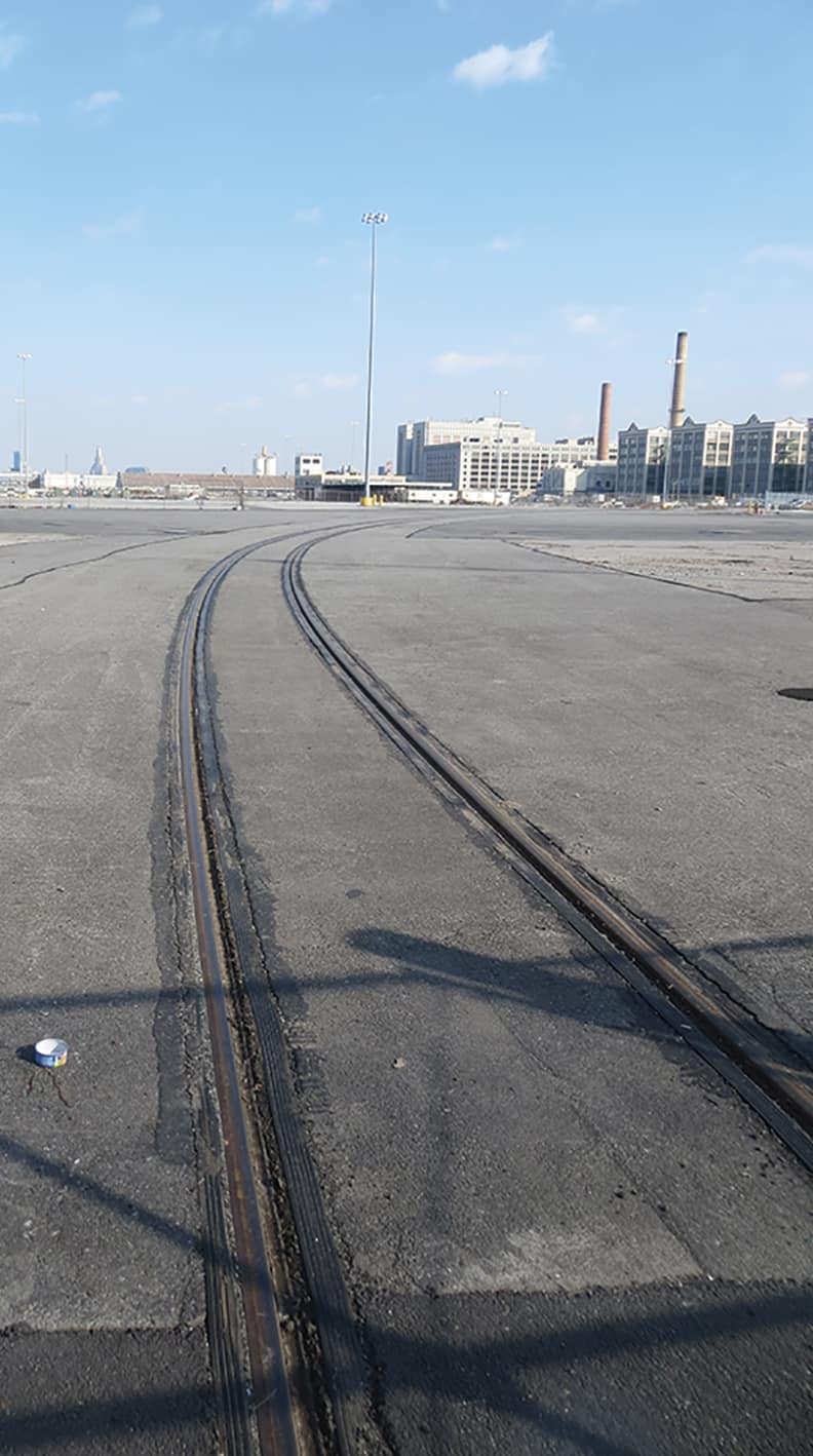 Train tracks coming out from the Marine Terminal