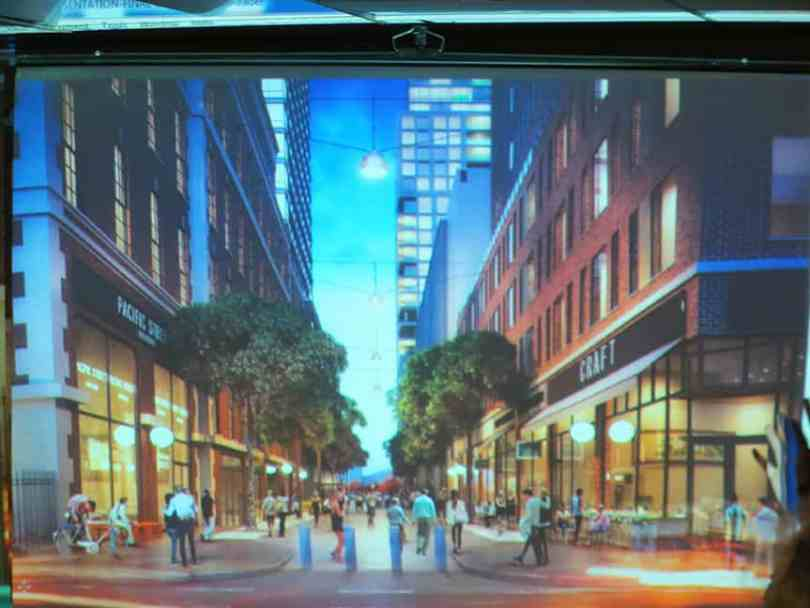 The crowd gasped at this rendering, which shows Pacific Street extended from Henry to Hicks.
