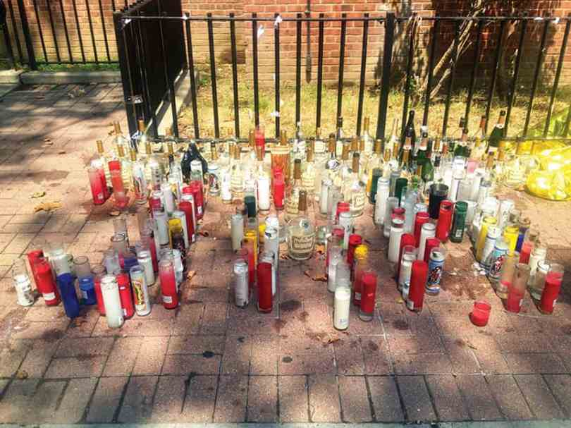 A vigil marking the spot where Smallwood was attacked, at 75 Bush Street. (photo by Noah Phillips)