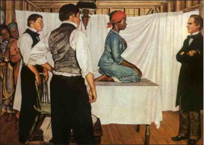 Illustration of Dr. J. Marion Sims with Anarcha by Robert Thom. Anarcha was subjected to 30 experimental surgeries. Pearson Museum, Southern Illinois University School of Medicine