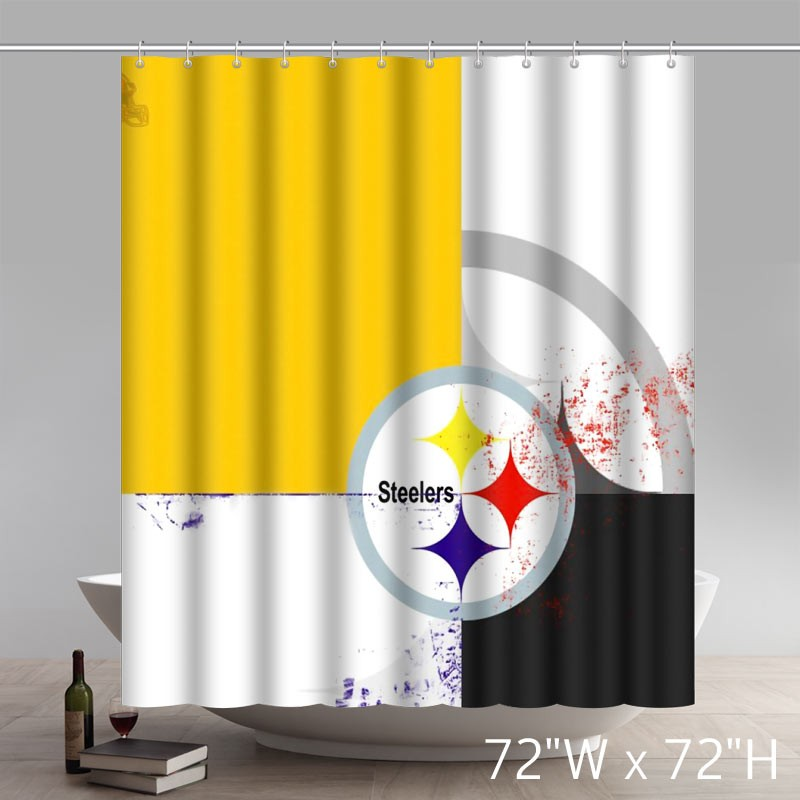 symbol pittsburgh steelers waterproof fabric bathroom shower curtain star unique shower curtains