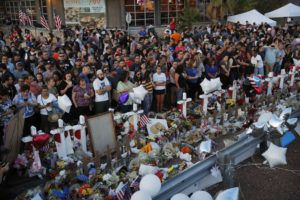 ASSOCIATED PRESS / AUG. 6                                 People crowd around a makeshift memorial at the scene of a mass shooting at a shopping complex in El Paso, Texas. In the days and weeks since three high-profile shootings took the lives of more than two dozen people in just a week's time, law enforcement authorities have reported seeing a spike in the number of tips they are receiving from concerned relatives, friends and co-workers of people who appear bent on carrying out the next mass shooting.