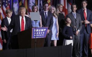 ASSOCIATED PRESS                                 Then President-elect Donald Trump is joined by his family as he gives his victory speech during his election night rally in New York on Nov. 8, 2016.