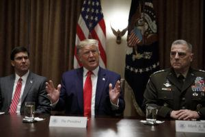 ASSOCIATED PRESS                                 President Donald Trump, joined by from left, Defense Secretary Mark Esper, and Chairman of the Joint Chiefs of Staff Gen. Mark Milley, spoke to media during a briefing with senior military leaders in the Cabinet Room at the White House in Washington, Monday.