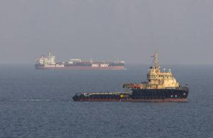 ASSOCIATED PRESS                                 This image, taken from aboard a Royal Navy Wildcat helicopter patrolling the Gulf as part of the International Maritime Security Construct, shows the MV Stena Impero, background, as it sails from the port at Bandar Abbas, Iran, after being released by Iranian officials Friday Sept. 27, 2019. Two rockets struck an Iranian tanker traveling through the Red Sea off the coast of Saudi Arabia on Friday, Iranian officials said.