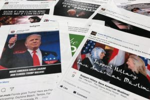 ASSOCIATED PRESS                                 Some of the Facebook and Instagram ads linked to a Russian effort to disrupt the American political process and stir up tensions around divisive social issues, in Nov. 2017, released by members of the U.S. House Intelligence committee, are photographed in Washington.