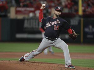 ASSOCIATED PRESS Washington Nationals starting pitcher Anibal Sanchez throws during the second inning of Game 1 of the baseball National League Championship Series against the St. Louis Cardinals Friday in St. Louis.