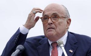ASSOCIATED PRESS Rudy Giuliani, attorney for President Donald Trump, addresses a gathering during a campaign event in Portsmouth, N.H. in Aug. 2018. Federal prosecutors in New York City are investigating whether President Donald Trump's personal lawyer Rudy Giuliani broke lobbying laws in his dealings in Ukraine.