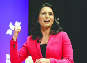 ASSOCIATED PRESS                                 Democratic presidential candidate Rep. Tulsi Gabbard, D-Hawaii, answers questions during a presidential forum at Texas State University campus in Houston earlier this year.