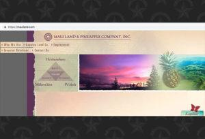 A screenshot of Maui Land & Pineapple Co.'s website.