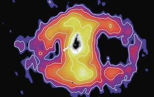 COURTESY IMAGE BY GENE LEUNG, UC SAN DIEGO                                 This image shows emissions from the distant galaxy Makani. The cloud extends about 326,000 light-years. The colors and white contour lines show the amount of light emitted by the ionized gas from different parts of the oxygen nebula, from brightest (white) to faintest (purple). The middle part of the image (black) shows the full extent of the galaxy, though most of the mass is concentrated in the tiny green dot in the center.