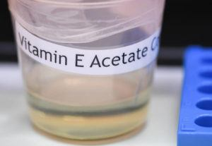 ASSOCIATED PRESS                                 A vitamin E acetate sample, seen Monday, during a tour of the Medical Marijuana Laboratory of Organic and Analytical Chemistry at the Wadsworth Center in Albany, N.Y. The Centers for Disease Control and Prevention in Atlanta today said fluid extracted from 29 lung injury patients who vaped contained the chemical compound in all of them.