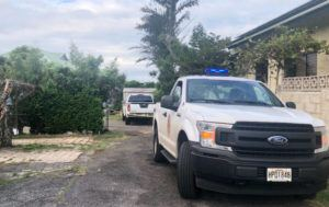 ROSEMARIE BERNARDO / RBERNARDO@STARADVERTISER.COM                                 Yellow police tape was seen this morning at 2401 Kula Kolea Drive in Kalihi. Police arrested a 50-year-old man Thursday night at or near the Kula Kolea Drive property in connection with a deadly shooting of a teenage boy late Thursday.