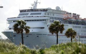 ASSOCIATED PRESS / 2016                                 The Carnival Fantasy cruise ship left PortMiami, in Miami Beach, Fla. A cruise ship scraped another while trying to dock in the Mexican Caribbean resort of Cozumel today, damaging at least one of the boats and resulting in minor injuries to six passengers.