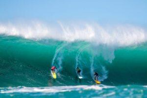 COURTESY ZAK NOYLE                                 Surfers are seen in the Eddie Aikau Big Wave Invitational in 2016.