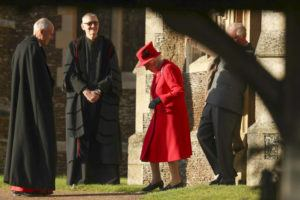 ASSOCIATED PRESS                                 Britain's Queen Elizabeth II arrives to attend the Christmas Day service at St Mary Magdalene Church in Sandringham in Norfolk, England.